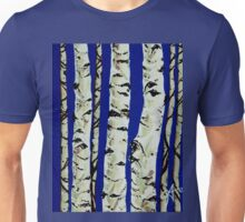 Sleeping Giants Aspen Trees Grove Old Winter Sky Blue White Trunks Strong Powerful Unisex T-Shirt