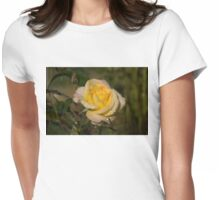 Golden Yellow Sparkles - a Fresh Rose With Dewdrops Womens Fitted T-Shirt