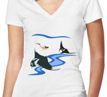 Manta Ray and Free Diver Women's Fitted V-Neck T-Shirt