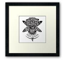 Surfing skull maverick monochrome Framed Print