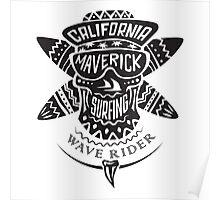 Surfing skull maverick monochrome Poster