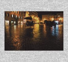 Golden Glow - Night on the Spanish Steps Piazza in Rome, Italy One Piece - Long Sleeve