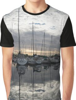 Silvery Boat Reflections - the Marina and the Pearly Clouds Graphic T-Shirt