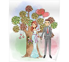 Beautiful Wedding Bride and Groom Hearts Tree Poster