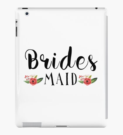 Bridesmaid Black Modern text Design Floral Accent iPad Case/Skin