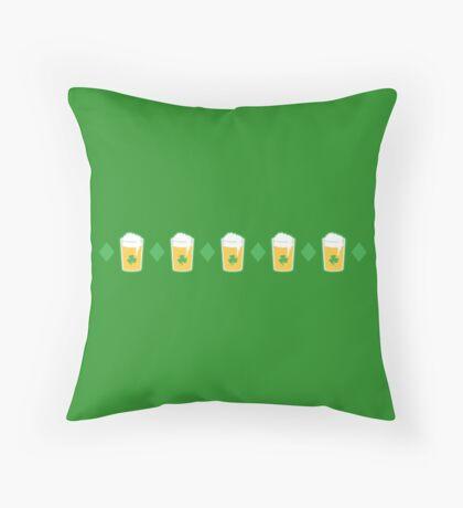 Beer in a glass and diamonds pinstripe tartan Throw Pillow