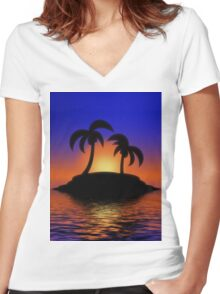 Palm Tree Sunset Women's Fitted V-Neck T-Shirt
