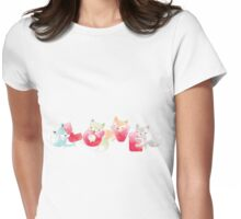 Cartoon Forest Animals Foxes LOVE Womens Fitted T-Shirt