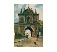 Watercolour Plymouth Devon Citadel gate Art Print