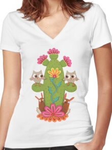 Cactus Hoot Women's Fitted V-Neck T-Shirt