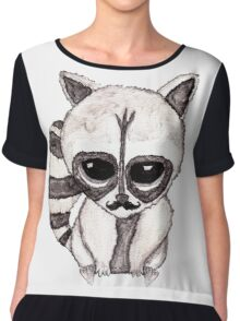 Adorable Watercolor Raccoon with Painted Mustache Chiffon Top