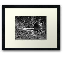 Apple on word abstract Framed Print