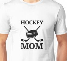 Hockey Mom Ice Hockey Logo with Puck and Sticks Unisex T-Shirt
