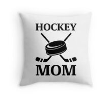 Hockey Mom Ice Hockey Logo with Puck and Sticks Throw Pillow