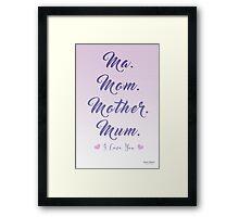 Mom Means I Love You Framed Print