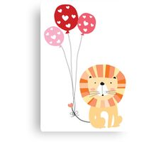 Holidays Cartoon Valentine's Day Lion Canvas Print
