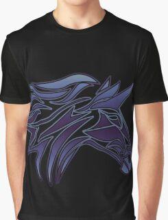 Blue Tribal Unicorn on Black High Quality Graphic T-Shirt