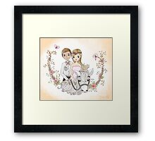 Beautiful Newlywed Bride and Groom On Horse Framed Print