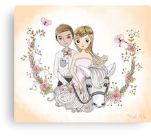 Beautiful Newlywed Bride and Groom On Horse Canvas Print
