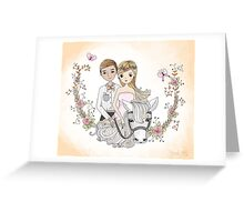 Beautiful Newlywed Bride and Groom On Horse Greeting Card