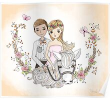 Beautiful Newlywed Bride and Groom On Horse Poster
