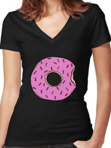 Frosted Donut Women's Fitted V-Neck T-Shirt