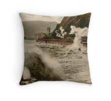 Vintage Teignmouth Devon seaside stormy weather train Throw Pillow
