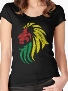 Lion Reggae Colors Cool Flag Vector Art  Women's Fitted Scoop T-Shirt