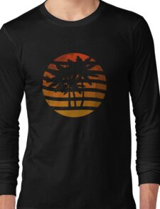 Palm Trees Grunge Sunset Long Sleeve T-Shirt