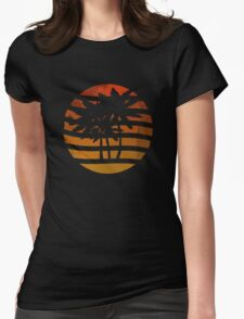Palm Trees Grunge Sunset Womens Fitted T-Shirt