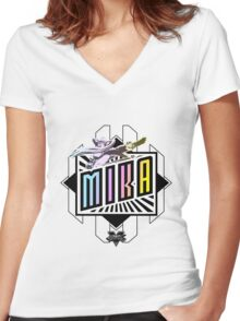R-Mika Women's Fitted V-Neck T-Shirt