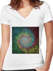 Eye Test in abstract Women's Fitted V-Neck T-Shirt
