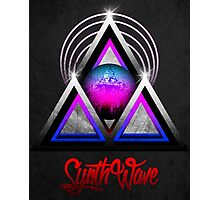 """Retro 80's Synthwave / New Retro Wave: Neon Nights (With """"SynthWave"""" logo) Photographic Print"""