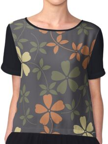 Elegant pattern with decorative flowers and leaves  Chiffon Top