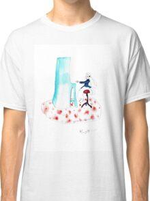 piano girl - watercolour pencil drawing Classic T-Shirt