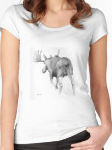 Moose Departing Women's Fitted Scoop T-Shirt