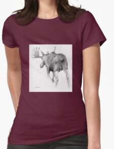 Moose Departing Womens Fitted T-Shirt