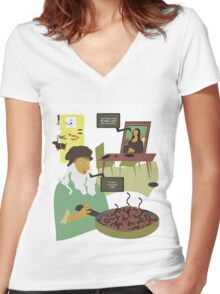Dinner Time at the Da Mincis Women's Fitted V-Neck T-Shirt