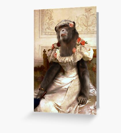 Chimp in Gown Greeting Card