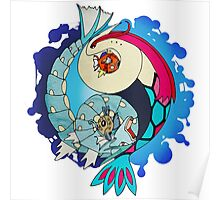 Paint-Splattered Aquatic Yin Yang - Milotic & Gyarados Poster