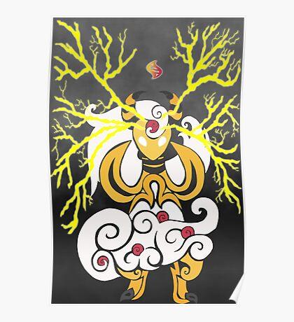Tribalish Mega Ampharos - Eye of the Storm Poster