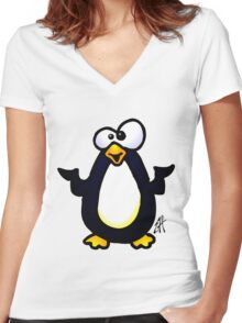 Pondering Penguin Women's Fitted V-Neck T-Shirt