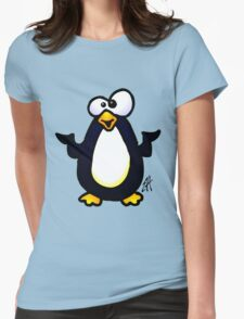 Pondering Penguin Womens Fitted T-Shirt