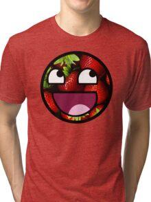 Strawberries Meme Face Tri-blend T-Shirt