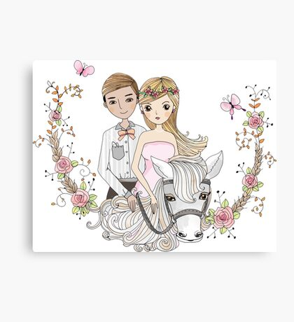 Beautiful Wedding Newlywed Bride Groom Horse Canvas Print