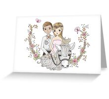 Beautiful Wedding Newlywed Bride Groom Horse Greeting Card