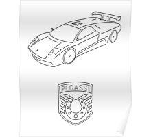 GTA V - Infernus Outline (Black) Poster