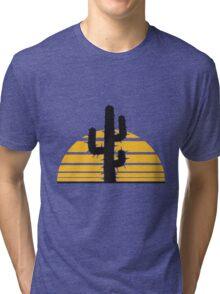 desert sun sunset sunrise big cactus desert thorn Tri-blend T-Shirt