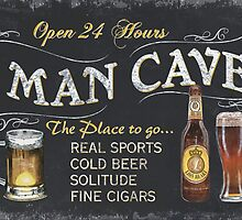 Man Cave Beer Sign by Debbie DeWitt