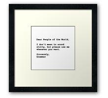 Use Grammar Framed Print